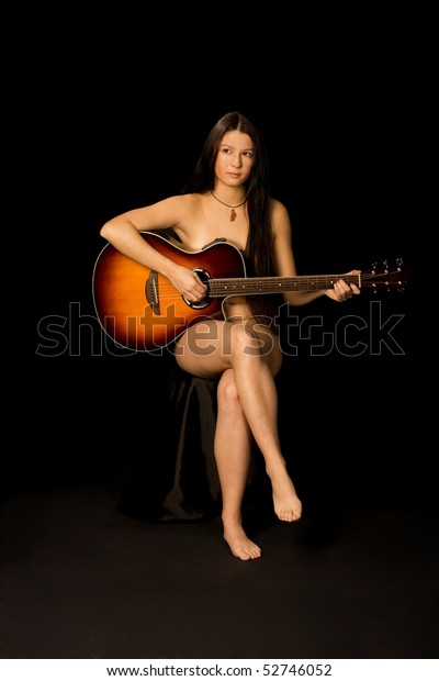 sexy nude girl with guitar