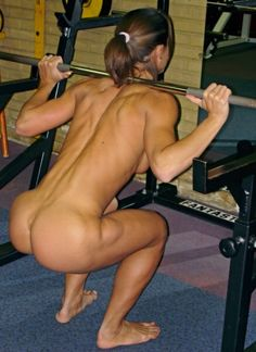 nude woman doing squats